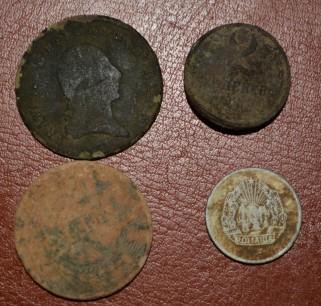 1 kreuzer 1800 e 5 lei 1942 2 kopeik 1970 5 bani 1975