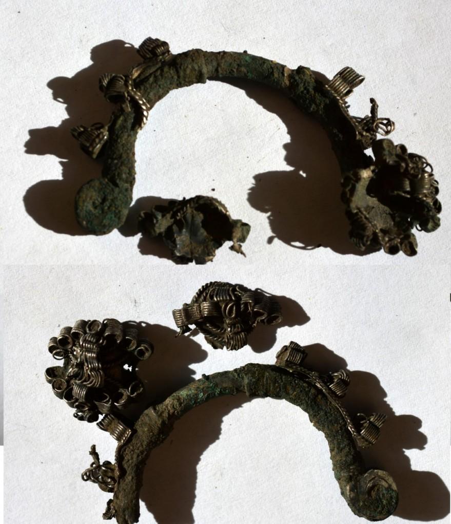 obiect medieval decorativ bornz argintat