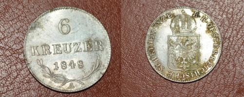 6 kreuzer 1848 A argint